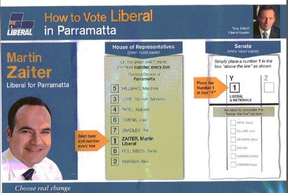 Tờ hướng dẫn bỏ phiếu cho Đảng Tự Do (LPA)