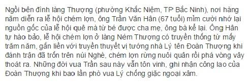 Nguồn gốc lễ hội chém lợn (theo lời kể dân lang Thượng) đăng trên VNExpress