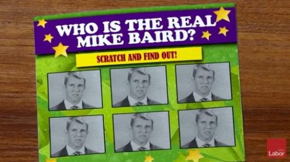 Thẻ cào của ALP, kêu gọi cào để bóc trần bộ mặt thật của Mike Baird, thủ hiên đương nhiệm. Ảnh SMH