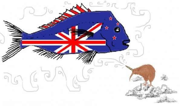 Mẫu cờ Chim Kiwi một sừng với hạn ngạch bắt cá Snapper (Snapper Quota Unicorn). Tác giả Charlotte Drene. Dân NZ rất quan tâm đến hạn ngạch đánh bắt cá Snapper. Còn gì gây chú ý tốt hơn bằng một con chim Kiwi một sừng.